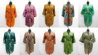 Lot of 10 pcs Women Handmade Silk Sari Vintage Bath Robe Casual Kimono Dress