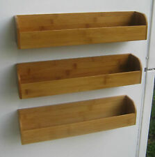 Magnetic Spice Rack &  Storage Shelf - 3 racks and 6 pc. utensil set - bamboo
