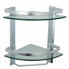Bathroom Corner Shelf 2 Tier With Rail Glass Shower Mounted Storage Caddy Bar