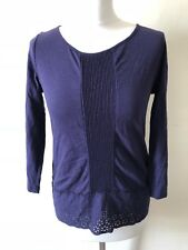 Purple White Stuff Top Size 8 Broderie Anglaise Hem Buttons Autumn Office Work
