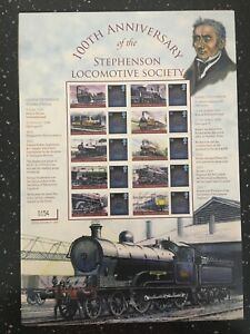 100TH ANNIVERSARY OF THE STEPHENSON LOCOMOTIVE SOCIETY. ONLY 1909 SHEETS MADE.