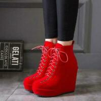Womens Fashion Occident Wedge High Heels Round Toe Lace Up Platform Ankle Boots