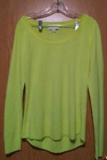 I87 Nicki Minaj Bright Fluorescent Yellow Pullover Boat Neck Sweater Size Large