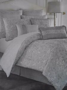 NEW CROSCILL ALITA SPA GREY FRENCH COUNTRY JACQUARD 6 PIECE  KING COMFORTER SET