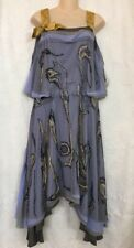 Nina Ricci Vintage Dress Blue And Gold SleeveLess Beaded Net Uneven Hem Size 40