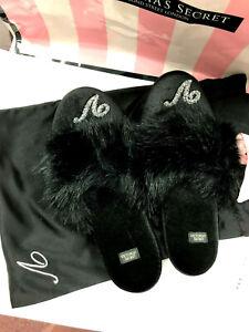 Victoria's Secret Bling Velvet Faux Fur Trim Slippers Black M NWT