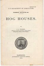 """New listing 1911 """"Hog Houses"""" Ja Warren Us Dept. of Agriculture Booklet Photographs Illust."""