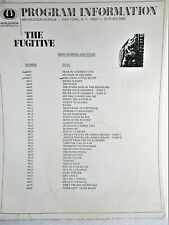 """""""THE FUGITIVE """"  TV SHOW, EPISODE LIST, TITLES, STARS & CHARACTERS, STORY LINES"""
