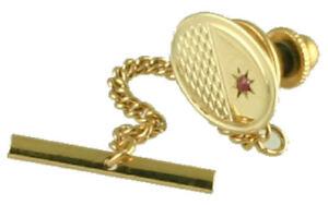 Gold Krawattennadel 9Ct Oval Motor Gedreht Mit Einsatz Rubin