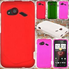 Hard Rubberized Snap On Phone Cover Case for HTC Incredible 4G LTE / Fireball
