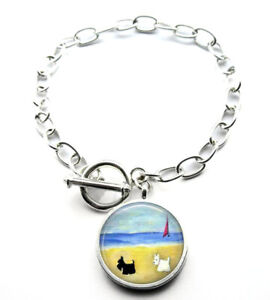 Silver Plated Scottie and Westie Dog Art Bracelet