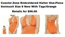 COSTAL ZONE EMBROIDERED SWIM WEAR ONE-PIECE BRIGHT ORANGE SIZE 8 NEW WITH TAGS