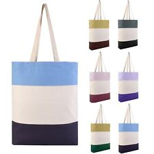 Heavy Canvas Tri-Color Fancy Canvas Tote Bags - Beach Bag Shopping Bag Gift Bags