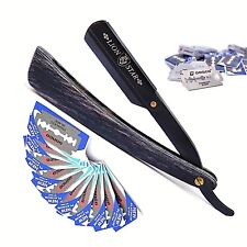 CLASSIC BLACK WOODEN BARBER STRAIGHT SHAVING RAZOR CUT THROAT SALON 10 BLADES