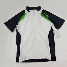 2XU Elite X Cycle Men's Short Sleeve Jersey  White + Green Size XL