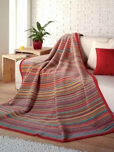 IBENA Colorful Sunset Striped Jacquard Woven Cotton Blend Velour Blanket Throw