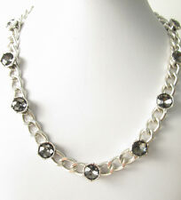 Kenneth Cole New York Silver Tone Black Faceted Bead Chain Necklace