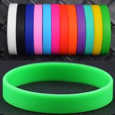 10 Fashion Silicone Rubber Elasticity Wristband Wrist Band Cuff Bracelet Bangle