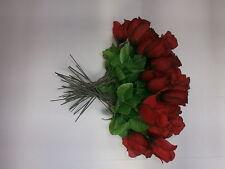 10 Kunstblumen Rote Rose - Heckenrose 28 cm - Kunstrosen - Deko N18