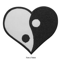 YIN YANG Heart Embroidered Patch Iron on Sew On Badge For Clothes etc