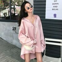Women Lady Satin Tops Shirt Dress Loose Baggy Long Sleeve Shiny Blouse Plus Size