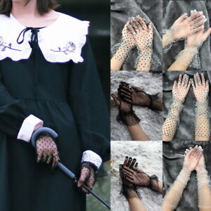 Ladies Mesh Stretchy Dot Lace Gloves Gothic Steampunk Fancy Dress Xmas Gift✅