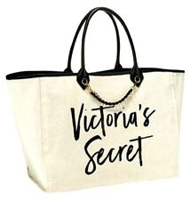 New Victoria's Secret Woven Chain Large Logo Beach Tote Travel Cream Travel Bag