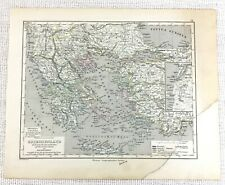 1864 Antique Map Ancient Greece Macedonia Greek Empire Hand Coloured Engraving