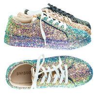 Grandslam07 Glitter Fashion Lace Up Sneaker w Covered Platform & Metallic Upper
