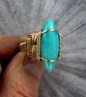 Amazonite Gemstone Ring in 14kt Rolled Gold  Size 5 to 15 Wire Wrapped Ring
