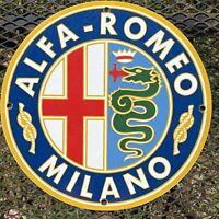 VINTAGE ALFA ROMEO PORCELAIN SIGN MILANO ITALY OIL LUBE GAS STATION AUTO CAR