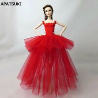 Red Costume Clothes For Barbie Dolls Dress Vestidoes Multi-layer Party Dresses