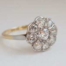 Fine Antique Edwardian 18ct Gold Diamond (Est 1.15cts) Daisy Cluster Ring c1910