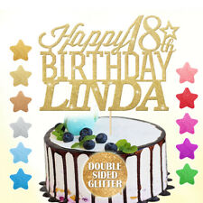 Happy Birthday Cake Topper Personalised 16th 18th 21st 30th 40th 50 60 Any Name