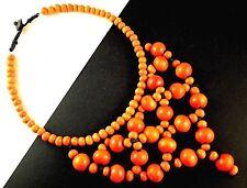 1 Boho Orange Colour Beaded Wood Statement Choker Necklace - # B131