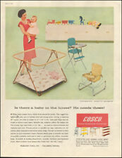 1959 Vintage ad for Cosco Metal Household furniture`retro playpen      042618)