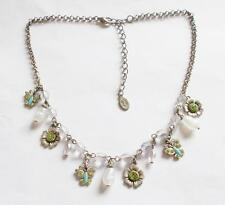 VINTAGE SILVER TONE GREEN CRYSTAL BLUE ENAMEL BUTTERFLY FLORAL CHARM NECKLACE