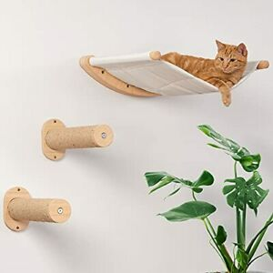Cat Hammock Wall Mounted Cat Shelf with Two Steps - Cat Wall Shelves and