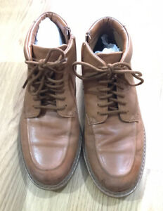 Clarks Boys Tan Leather Ankle Boots Size 4.5G Fit