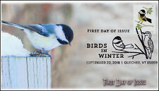18-261, 2018, Birds in Winter, Pictorial Postmark, Chickadee, FDC