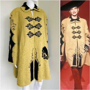 Christian Lacroix Fall 1990 size 38 oversized coat jacket green wool vintage
