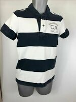 Men's Hollister Navy Blue White Striped Button T-Shirt Polo Size Medium