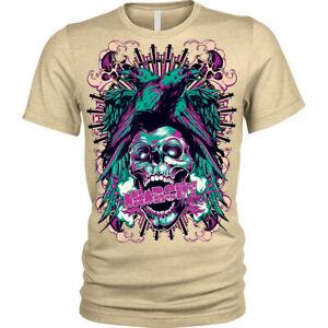 Anarchy Ravens T-Shirt axes biker Skull gothic rock punk crow metal Unisex Mens