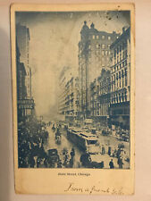 State Street Chicago 1908 Postcard Posted RPPC Buggys Trolley Crowded Street