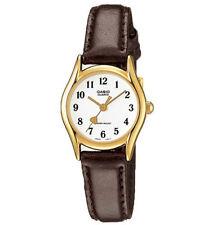 Casio Women's Brown Leather Strap Watch, White Dial, Heart, LTP1094Q-7B5