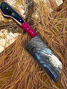 LOUIS MARTIN RARE CUSTOM HANDMADE DAMASCUS ART HUNTING CLEVER CHOPPER CHEF KNIFE
