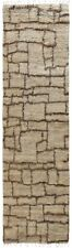 """Geometric Modern Natural Color Moroccan Shaggy 12 ft Runner Rug 11' 7"""" x 2' 8"""""""
