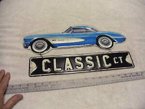 CORVETTE CLASSIC  Embossed 2 Part Vintage Metal Style Sign