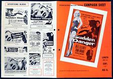 SUDDEN DANGER 1956 Bill Elliott, Tom Drake, Beverly Garland UK CAMPAIGN BOOK