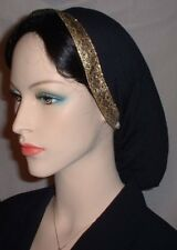Head Covering Headcovering Black Peach Skin Snood Jacquard Ribbon Band Snoods